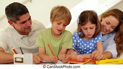ouders, vrolijke , kinderen, tekening
