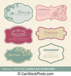 ouderwetse , achtergrond, beauty, etiketten