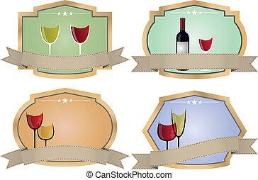 ouderwetse , badge, wijntje