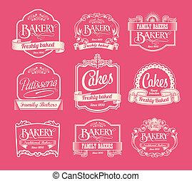 ouderwetse , bakkerij, etiketten