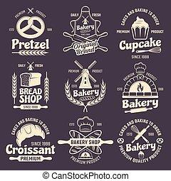 ouderwetse , bakkerij, stijl, emblems