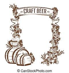 ouderwetse , bier, frame