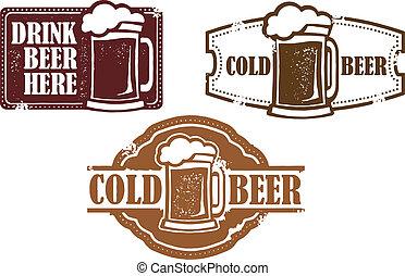 ouderwetse , bier, postzegels