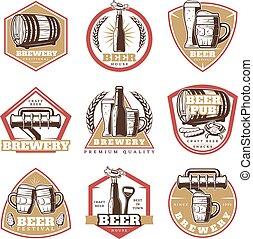 ouderwetse , bier, set, emblems, kleurrijke