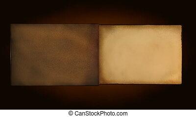 ouderwetse , boek, oud, draaien, pagina's