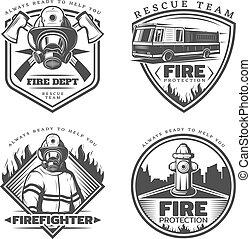 ouderwetse , emblems, set, firefighting