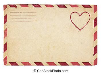 ouderwetse , enveloppe, valentijn