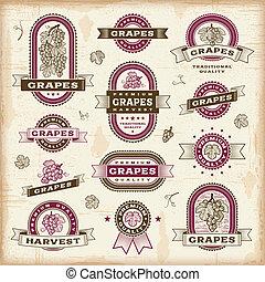ouderwetse , etiketten, set, druiven