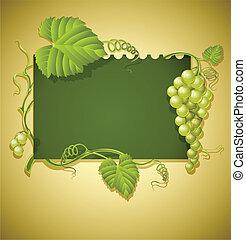 ouderwetse , frame, brink loof, druiven