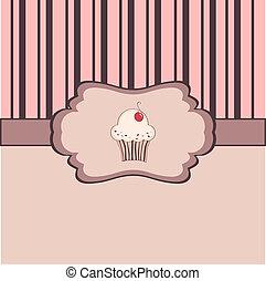 ouderwetse , frame, cupcake