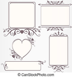 ouderwetse , frame, set, sierlijk