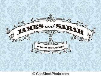 ouderwetse , frame, vector, achtergrond, trouwfeest