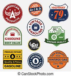 ouderwetse , gas, retro, tekens & borden