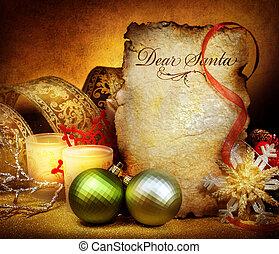 ouderwetse , groet, santa., brief, gestyleerd, kerstmis., kaart