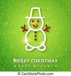 ouderwetse , groet, snowman., zalige kerst, kaart