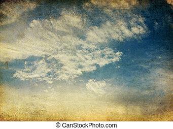 ouderwetse , hemel, achtergrond., ondergaande zon , retro, tranquil