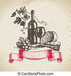 ouderwetse , illustratie, hand, achtergrond., getrokken, wijntje