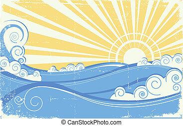 ouderwetse , illustratie, vector, waves., zee, zon, landscape