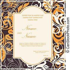 ouderwetse , kaart, uitnodiging, trouwfeest
