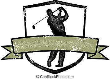 ouderwetse , kam, golf speler