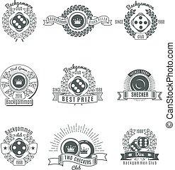 ouderwetse , klaveren, stijl, emblems, triktrak