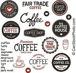 ouderwetse , koffie, etiketten, lettering