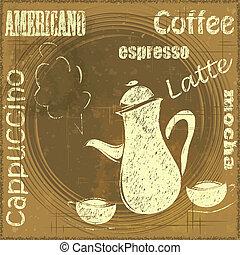 ouderwetse , menu, koffiehuis, stander, koffie