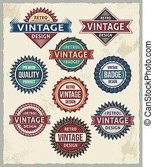 ouderwetse , ontwerpen, badge, retro, etiket