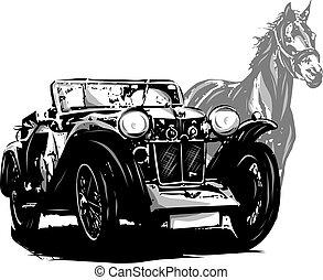 ouderwetse , paarde, elements., auto, invitation., ontwerp, trouwfeest
