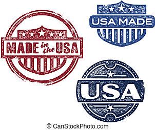 ouderwetse , postzegels, gemaakt, usa