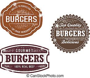 ouderwetse , postzegels, hamburger