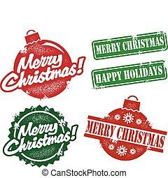 ouderwetse , postzegels, kerstmis, vrolijk