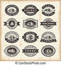 ouderwetse , postzegels, landbouw, organisch, set