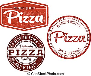 ouderwetse , postzegels, pizza, menu