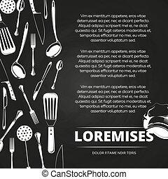 ouderwetse , restaurant, ontwerp, chalkboard, poster