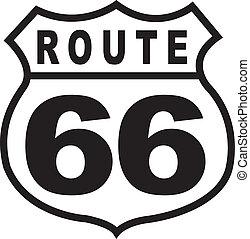 ouderwetse , route, meldingsbord, retro, 66, snelweg