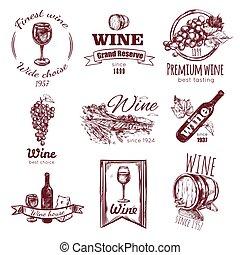 ouderwetse , set, badge, wijntje