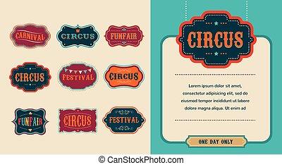 ouderwetse , set, etiketten, circus