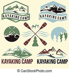 ouderwetse , set, etiketten, kayaking, kamp