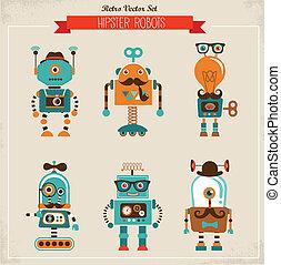 ouderwetse , set, hipster, robot, iconen
