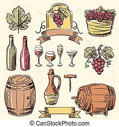 ouderwetse , set., wijntje, getrokken, hand