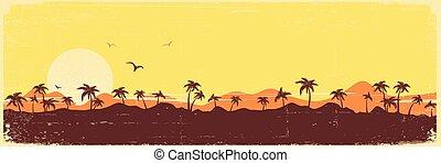 ouderwetse , silhouette, palmen, eiland, textuur, tropische , papier, achtergrond, paradijs, oud