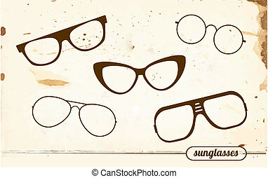 ouderwetse , silhouettes, set, zonnebrillen