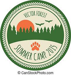 ouderwetse , sticker, kamp, zomer