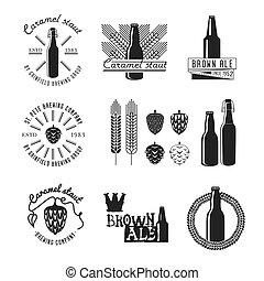 ouderwetse , stijl, ambacht, bier, label.