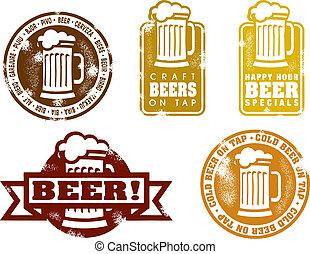 ouderwetse , stijl, bier, postzegels