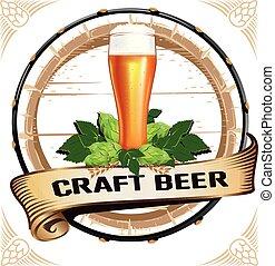 ouderwetse , stijl, embleem, bier, kleurrijke
