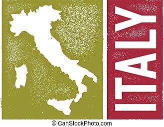 ouderwetse , stijl, italië, kaart