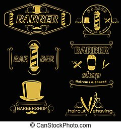 ouderwetse , stijl, kapper, emblems, dienst