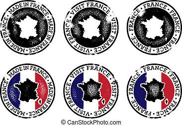 ouderwetse , stijl, postzegels, frankrijk